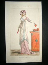 Lady's Magazine 1801 H/Col Regency Fashion Print. Paris Dress 07